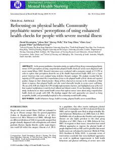 Refocusing on physical health: Community psychiatric nurses