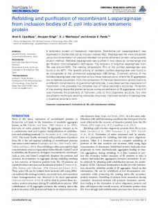 Refolding and purification of recombinant L-asparaginase from ...