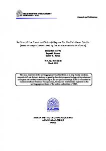 Reform of the Fiscal and Subsidy Regime for the Petroleum Sector