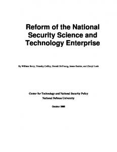 Reform of the National Security Science and Technology Enterprise