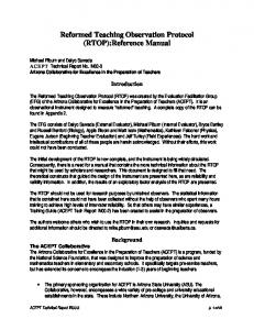 Reformed Teaching Observation Protocol (RTOP):Reference Manual