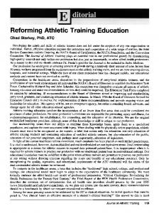 Reforming Athletic Training Education - Europe PMC