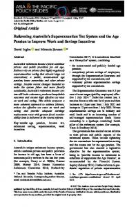 Reforming Australia's Superannuation Tax ... - Wiley Online Library