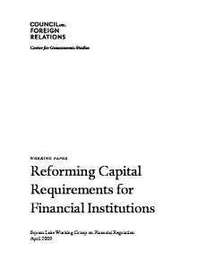 Reforming Capital Requirements for Financial Institutions