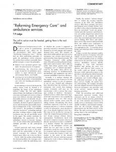 ''Reforming Emergency Care'' and ambulance services - Europe PMC