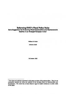 Reforming EMU's Fiscal Policy Rules - Willem Buiter