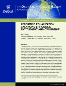 reforming equalization - The School of Public Policy