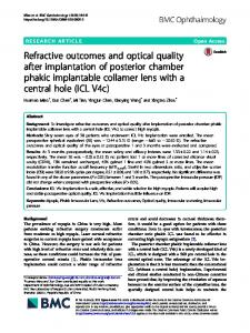 Refractive outcomes and optical quality after implantation of posterior ...