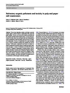 Refractory organic pollutants and toxicity in pulp and paper mill ...