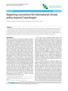 Regaining momentum for international climate policy