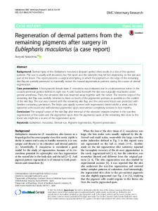 Regeneration of dermal patterns from the remaining pigments after ...