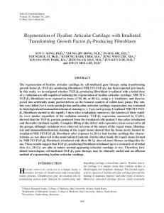 Regeneration of Hyaline Articular Cartilage with ... - Inha DSpace