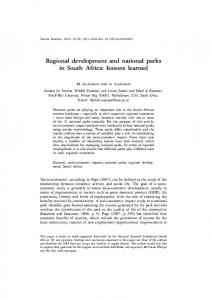 Regional Development and National Parks in South Africa: Lessons ...