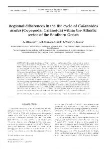 Regional differences in the life cycle of Calanoides ... - Inter Research