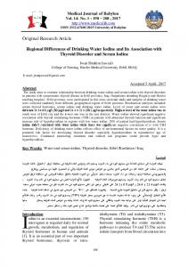 Regional Differences of Drinking Water Iodine and Its Association with ...