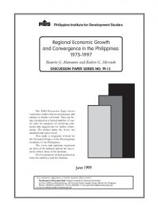 Regional Economic Growth and Convergence in the Philippines: 1975 ...