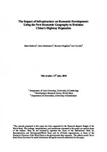 Regional Economic Impacts of Highway Projects
