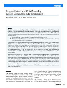 Regional Infant and Child Mortality Review Committee 2010 Final ...