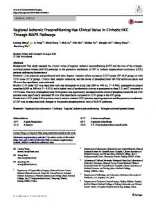 Regional Ischemic Preconditioning Has Clinical