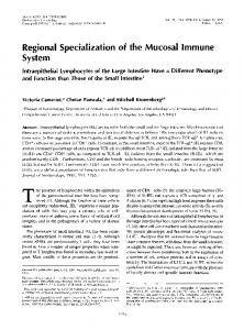 Regional Specialization of the Mucosal Immune System