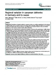 Regional variation in caesarean deliveries in Germany and its causes ...