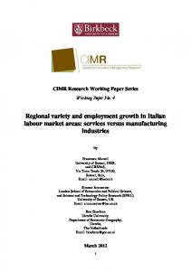 Regional variety and employment growth in Italian Labour Market ...