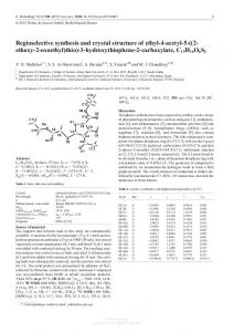 Regioselective synthesis and crystal structure of ethyl ...