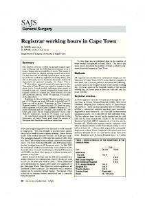 Registrar working hours in Cape Town