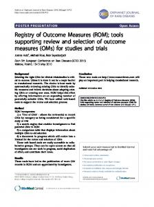 Registry of Outcome Measures (ROM) - Springer Link