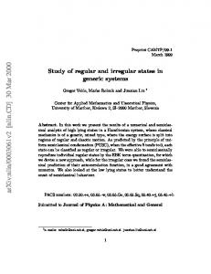 Regular and Irregular States in Generic Systems