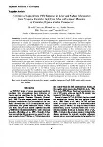 Regular Article Activities of Cytochrome P450 Enzymes in Liver and ...