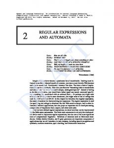 REGULAR EXPRESSIONS AND AUTOMATA
