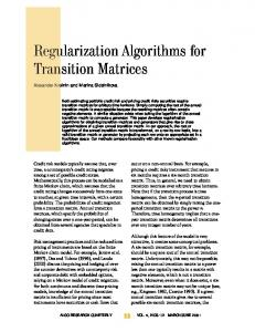 Regularization Algorithms for Transition Matrices - CiteSeerX