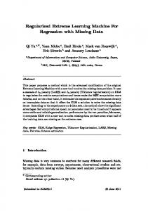 Regularized Extreme Learning Machine For Regression ... - Research