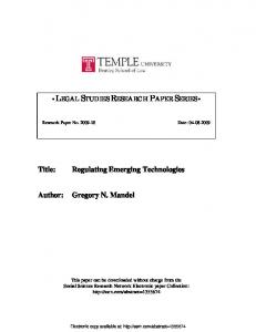 Regulating Emerging Technologies Author: Gregory N. Mandel - SSRN