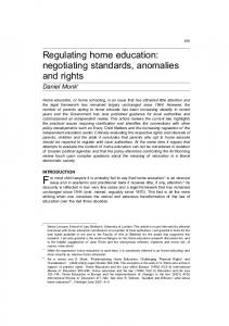 Regulating home education: negotiating standards ... - SSRN papers