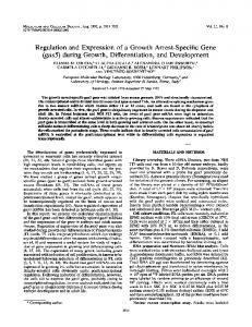 Regulation and Expression of a Growth Arrest-Specific Gene (gas5 ...
