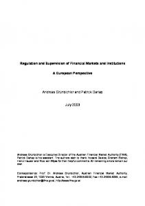 Regulation and Supervision of Financial Markets and Institutions A ...