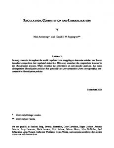 Regulation, competition and liberalization - CiteSeerX