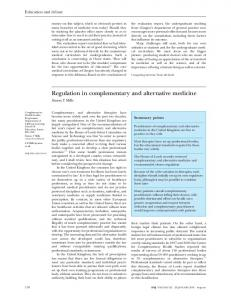 Regulation in complementary and alternative medicine