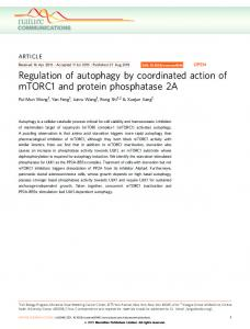 Regulation of autophagy by coordinated action of mTORC1 ... - Nature