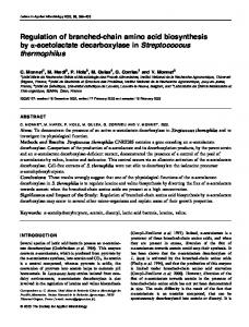 Regulation of branched-chain amino acid biosynthesis by ... - CiteSeerX