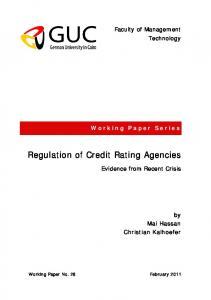 Regulation of Credit Rating Agencies