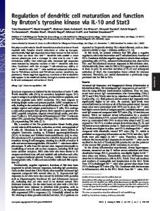Regulation of dendritic cell maturation and function by Bruton's ...