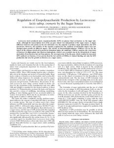 Regulation of Exopolysaccharide Production by Lactococcus lactis ...