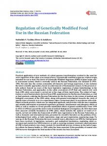 Regulation of Genetically Modified Food Use in the Russian Federation