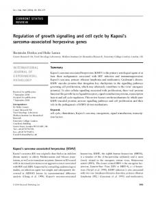 Regulation of growth signalling and cell cycle by Kaposi's sarcoma ...