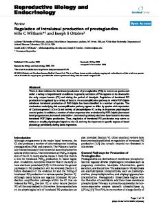 Regulation of intraluteal production of prostaglandins