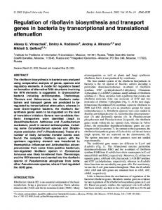 Regulation of riboflavin biosynthesis and transport ... - BioMedSearch