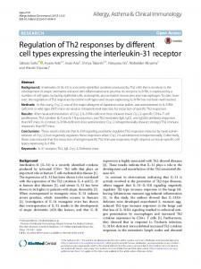 Regulation of Th2 responses by different cell types ... - Springer Link